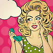 Surprised Pop Art Woman With Retro Phone, Who Tells Her Secrets. Pin-up Girl. Vector Illustration stock vector