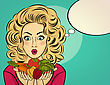Surprised Pop Art Woman That Holds Vegetables In Her Hands . Comic Woman With Speech Bubble And Healty Food stock illustration