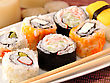 Sushi Assortment In A Dish, Close Up stock image