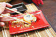 Sushi And Chopsticks Close Up Japan Food stock photography