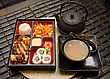 Various Sushi Lunch With Soup Salad Tea And Sauce stock photo
