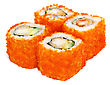 Sushi Set - Four Rolls With Red Caviar Isolated stock photo