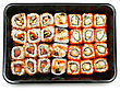 Sushi Set In The Plastic Box Isolated stock photo