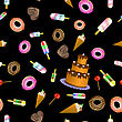 Sweet Food Seamless Pattern On Black Background stock illustration