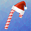 Sweet Red Candy Cane And Hat Of Santa Claus Isolated On Blue Ice Polygonal Background