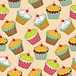 Sweet Seamless Pattern With Cupcakes, Vector Format