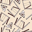 Swing And Rollers Seamless Doodle Pattern. EPS 10 Vector Illustration Without Transparency