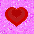 Symbol Of Heart On Abstract Pink Wave Background stock illustration