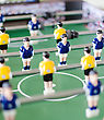 Table Football Game With Yellow And Blue Players stock image