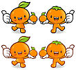 Tangerine And Orange Couple Characters To Promote Fruit Selling. Fruit Character Design Series