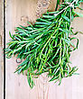 Tarragon Fresh Green Tied With Twine On The Background Of Wooden Boards stock photo