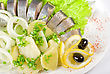 Tasty Herring With Potato And Fresh Vegetables stock image