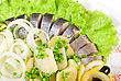 Tasty Herring With Potato And Fresh Vegetables stock photo