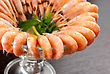 Tasty Shrimps With Lemon And Greens Closeup stock photography