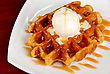 Tasty Waffle And Ice Cream With Cream stock photo
