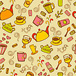 Tea And Coffee Seamless Background. Vector Doodles Pattern