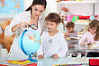 Teacher, Pupil, Reading, Globe stock image