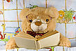 Teddy-bear With Glasses Reading A Book By Himself stock photo