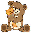 Teddy Bear Playing With His Toy, A Cat, Vector Illustration