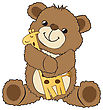 Teddy Bear Playing With His Toy, A Giraffe, Vector Illustration