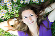 Teen Girl Lying In Grass stock photography