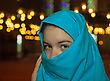 Teen Muslim Girl Covered With Hijab At A Mosque