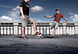 Teenage Boys Playing Soccer stock image