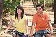 Teenage Couple On Bike Ride stock photo