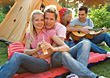 Couples Lifestyle Teenage Friends Camping stock photo
