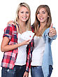Teenage Girls Holding Playing Cards