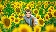 Teenager in a Sunflower Field stock photo