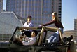 Teenagers Teenager Riding in Jeep stock photo
