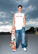 Teenagers Teenager With Skateboard stock photo