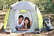 Teenagers Camping stock photo