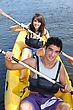 Teenagers Canoeing stock image