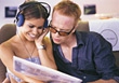 Teenagers Listening to Music stock image