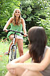 Teenagers Riding Bikes stock image