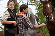 Teens With Horses stock image