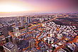 Tel Aviv At Sunset, Ramat Gan Exchange District stock photography