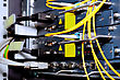 Telecommunication Equipment Of Network Cables In A Datacenter Of Mobile Operator stock photo