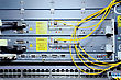 Traffic Telecommunication Equipment Of Network Cables In A Datacenter Of Mobile Operator stock photo