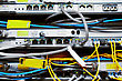 Telecommunication Equipment Of Network Cables In A Datacenter Of Mobile Operator stock photography
