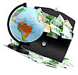 Terrestrial Globe, Money And Briefcase Isolated On A White Background stock photography