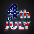 """Text """"4th Of July"""" With Backlight Effect On The Black Background"""