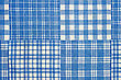 Texture Of The Cotton Fabric With A Blue Checkered Pattern stock photo