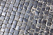 Sidewalk Texture Of Cobblestone Background In The City stock photo
