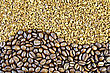 Texture Of The Coffee Beans And Granulated stock photo