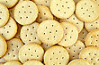 Heap Texture Of The Yellow Round Crackers stock photography