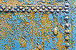 Texture Of A Rusty Blue Metal Door With Rivets stock photography