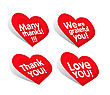 """thank You"" Stickers In Heart Form On White"